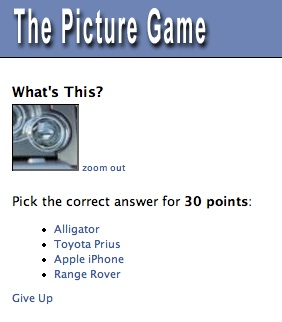 The Picture Game on facebook